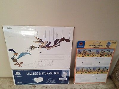 Looney Tunes Road Runner Wile E. Coyote Warner Bros. Mailing Labels and Box