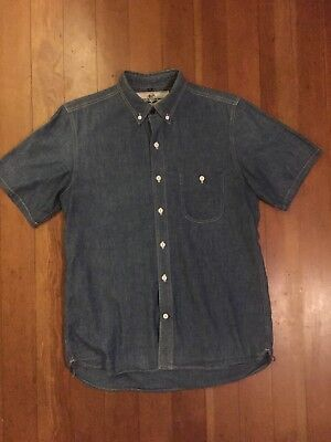 Rogue Territory Blue Button Front Short Sleeve Chambray Shirt - Large