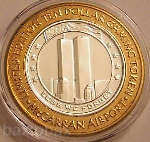 """McCARRAN  Silver Strike  """"LESS WE FORGET""""  9/11 TWIN TOWERS WORLD TRADE CENTER"""
