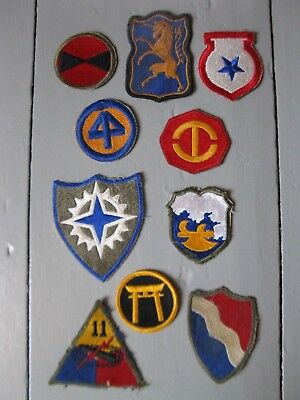 Lot of 10 WWII Military Patches U.S. American Vintage WW2 - Lot #1
