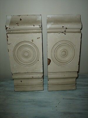 Antique Wood Rosettes Casing Pieces Architectural Salvage 2 Piece Good Condition