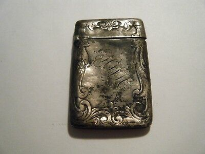 Antique Victorian Vesta silver sterling match box case highly decorated