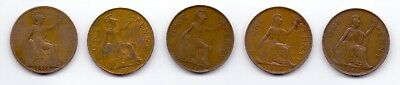 one 1 penny UK United Kingdom Great Britain 5 coin 1919 1927 1930 1944 1945