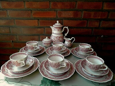 Hutschenreuther Maria Theresia Windsor Rot Kaffeeservice Kaffee Service 6 P Top