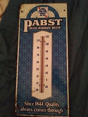 "VINTAGE 1950's Pabst Blue Ribbon Thermometer Sign ~20"" x 9"""