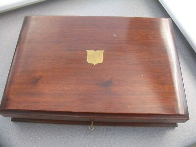 Superb Vintage Wood Ex Cutlery Box With Vacant Cartouche
