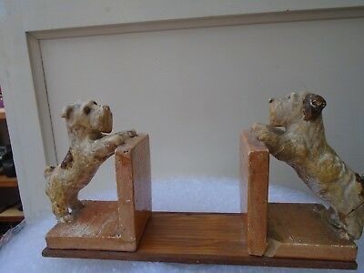 vintage plaster dog bookends on wooden plinth   unusual clearance find item LOOK