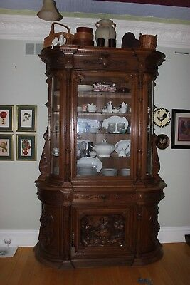 Antique Belgium Oak Wood China Cabinet Hutch Ornate Handcarved and Handmade