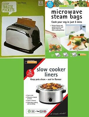 Toasted Sandwich Pockets,Roast Bag,Steam Bags,Slow Cooker Liners, plus many more