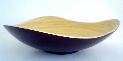 Delightful Vintage Modern Designed Wood Or Bamboo Bowl With Purple Exterior
