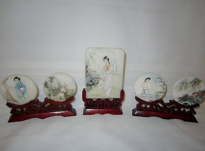 Three vintage Chinese hardstone table screens hand painted carved wood stands