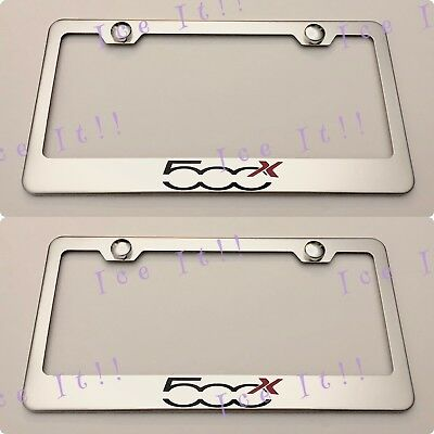 2X Fiat 500C Laser Red Style Stainless Steel Black License Plate Frame Rust Free