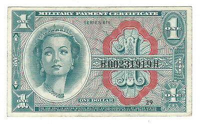Series 611 One Dollar Military Payment Certificate, Vf/xf