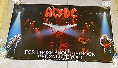 vintage AC DC AC/DC RECORD STORE POSTER For Those About To Rock We Salute You