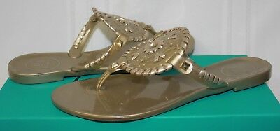 a0bbd32156c33 JACK ROGERS WOMEN S Georgica Jelly Gold Sandals New With Box ...