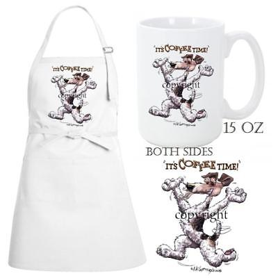 Wire Fox Terrier Dog Breed Coffee Time Kitchen Chef Apron & Ceramic Mug Gift Set