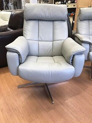 grey premium soft leather armchair, swivel and recline armchair ex display