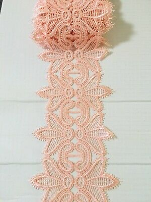 "Stretch Gold /& Pink Embroidered Border Lace Trim//Sewing//Lingerie//6.5"" Wide"