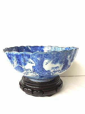 Antique Japanese Porcelain Blue & White Hand Painted Bowl
