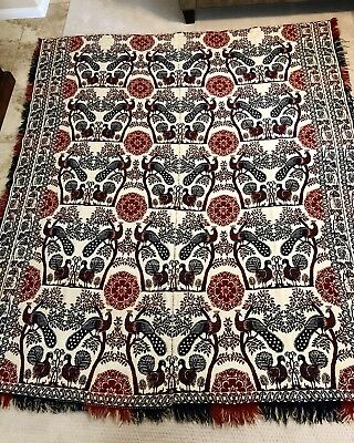 Antique Hand Woven Jacquard Coverlet 2 Sided Red, White & Blue Peacock Pattern