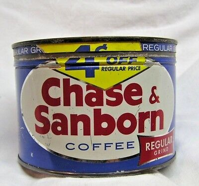 Vintage Chase and Sanborn 1 pound Coffee Tin with Lid