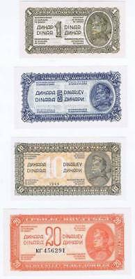 Yugoslavia Democratic Federation of Yugoslavia 1944 1,5,10,20 Dinara CU thin pap