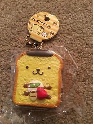 Sanrio Pom Pom Purin French Toast Squishy With Ball Chain And Ear Phone Jack Nip