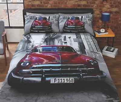 Santiago Red Vintage Classic Car Duvet Quilt Cover Bedding Set + Pillowcases