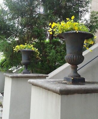 """Antique Pair 24"""" Large Capagna Form Cast Iron Garden Urns Planters Late 19th C"""