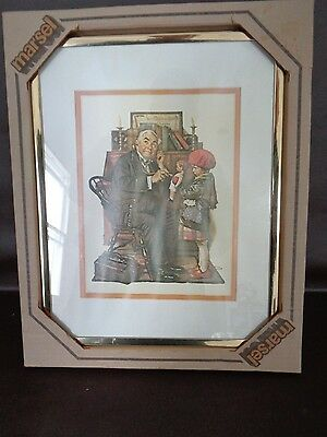 """Vintage Framed Norman Rockwell Doctor With Stethoscope 11"""" x 14"""" (Cat.#A3001)"""
