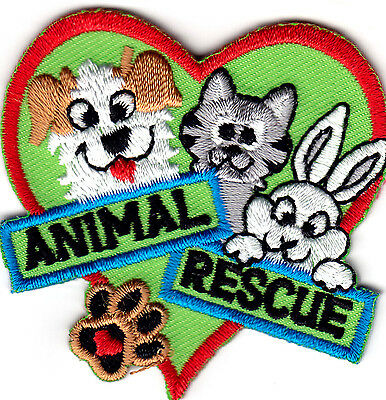 ANIMAL RESCUE Iron On Patch Dogs Pets Cats Animals