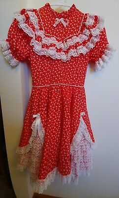 Red And White Square Dance Dress Lace, Bows, Butterflies