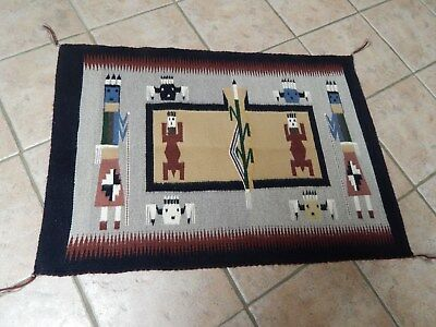 Vtg Fine  Authentic  Navajo Rug Sand Painting Salina Whitefoot Shiprock