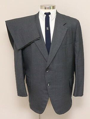 Vintage 1960s Mens 48R Kingswood 2 Piece Grey with Blue Check Wool Suit