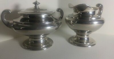 Antique Landers Frary Clark Universal  Lidded sugar and creamer Art Deco Chrome