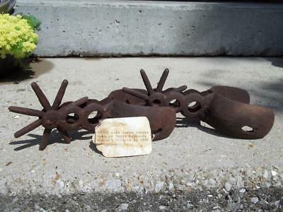 Pair Of Old Cast Iron Western Spurs Cowboy Cowhand With Paper Write Up Tag Spur