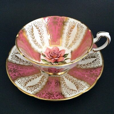 Vintage Paragon Rose Pink Gold Footed Cup And Saucer Fine Bone China England