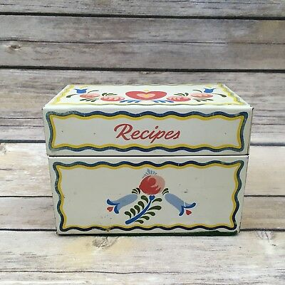 Vintage Tin Floral White Pink & Blue Floral  Ohio art Co Recipe Box Americana