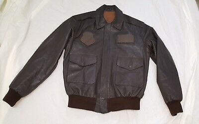 Men's  Military Brown  Leather Bomber A-2 Jacket Size 44L Made In Usa
