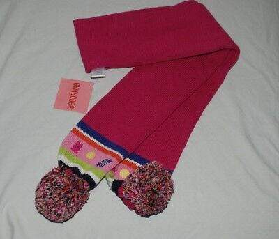 NWT Gymboree Pink Girls Winter Scarf with pom poms 100% Cotton
