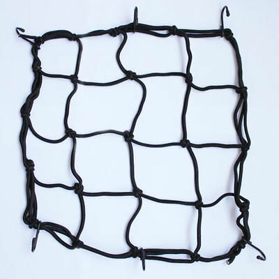 Elastic Cords Bungee Net Holder Helmet Tank Bike Luggage 6 Hooks Mesh Black