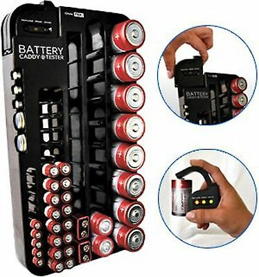 Battery Organizer w/Tester Wall Mount Caddy AAA/AA/C/D 9V Holder Storage Rack