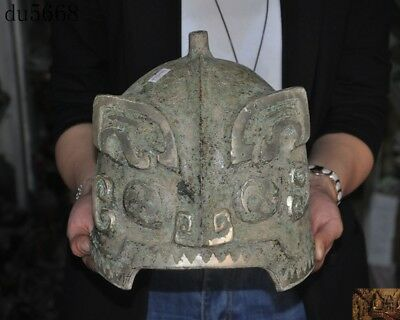 Rare antique Old Chinese Pure Bronze silver Ancient Text Animal face mask helmet