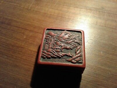 Antique Cinnebar Asian Painting Box