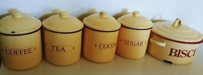 vintage cream & red enamel Kitchen Canisters Set + biscuits tin tea coffee sugar