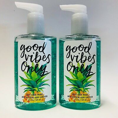 2 Bath & Body Works Good Vibes Only Full Size Hand Sanitizer 7.6 oz New