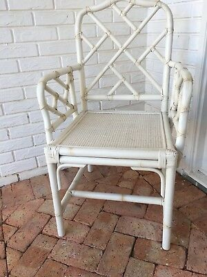 VTG White Rattan Chair.  Chinese Chippendale Look!