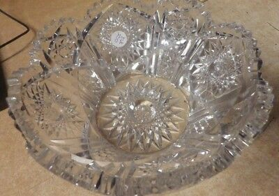 Large Vintage Antique Cut Glass Crystal Serving Bowl Star Design Ribbed Edge #2