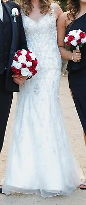 Size 12 Ivory Wedding Dress, extra 2 inches long, worn once, no train