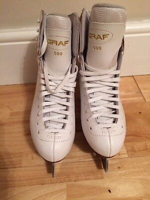 Women's Risport White Ice Skates. UK size 7. Used: Very good condition. Kit Bag.